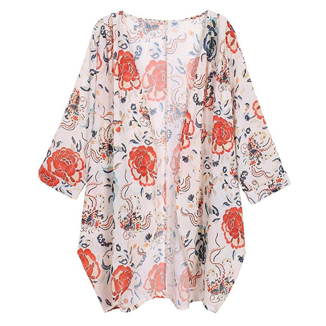 Shybuy Womens Loose Chiffon Floral Print Kimono Fashion Blouse Cardigan Jacket Tops (White, 2XL)