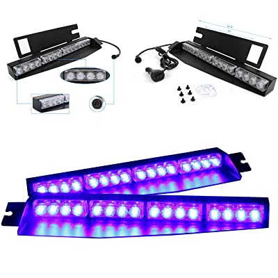 32LED 32W LED Lightbar Visor Light Windshield Emergency Hazard Warning Strobe Beacon Split Mount Deck Dash Lamp (Blue): Automotive