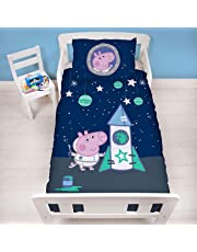 Peppa Pig Official Peppa George Pig Junior Toddler Cot Duvet Cover | Space Rocket Design | Children's Kids Bedding Set & Pillowcase, Blue