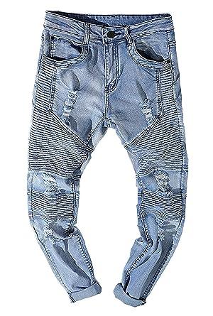 92a9873cf0e96 Les Hommes Trou Froissé Ripped Motobiker Jeans Washed Tailles Confortables  Pantalons en Denim Slim Fit Jeans Détruit Pantalon De Loisirs Vetement  ...