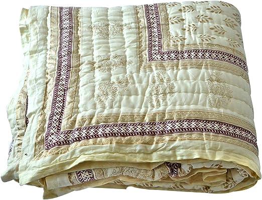 Cotton 100/% Quilt Block Printed Hand Quilt Razai Blanket Throw Reversible Quilt