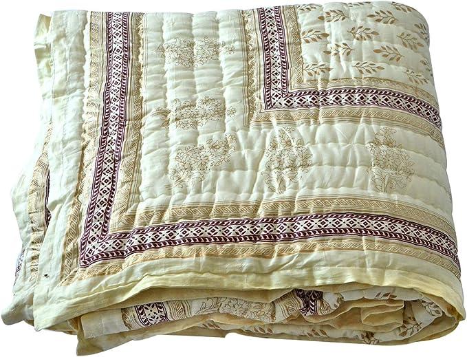 Indian Hand Block Print Quilt Quilted bedspreads Winter Quilts Jaipuri Razai Muslin Quilt Handmade Quilt Quilts for Sale Cotton Quilt