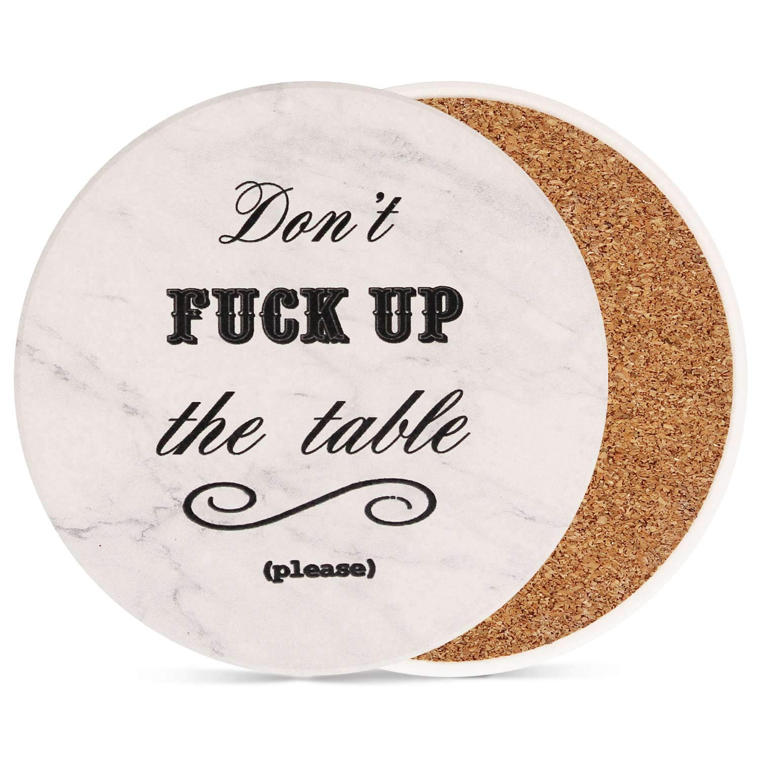Coasters for Drinks 8-Piece Funny Absorbent Stone Ceramic Coasters Set - White Marble Style Coaster for Drink with Cork Backing, Protect Your Furniture From Spills, Scratches, Water Rings and Damage