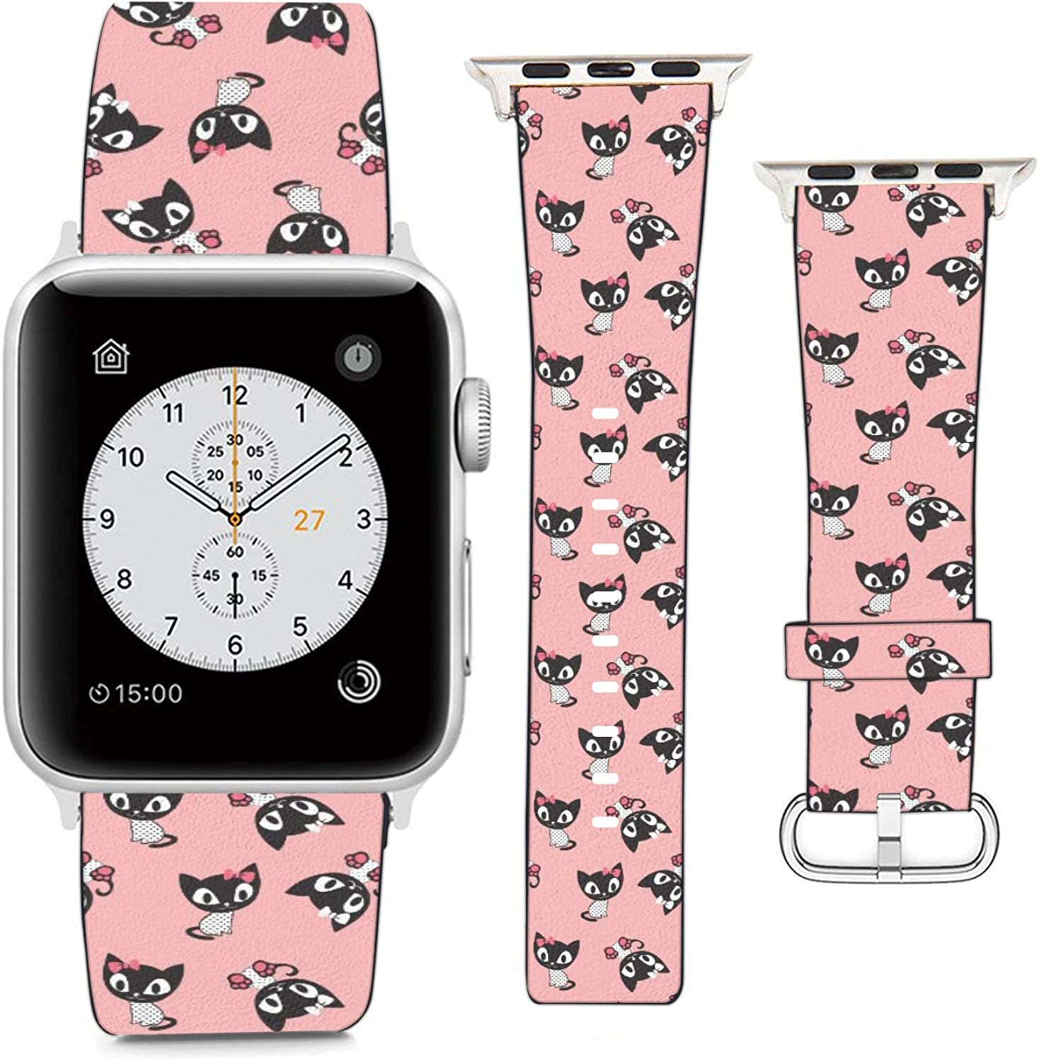 Compatible with Apple Watch Wristband 38mm 40mm, (Cartoon Kitten Cats) PU Leather Band Replacement Strap for iWatch Series 5 4 3 2 1