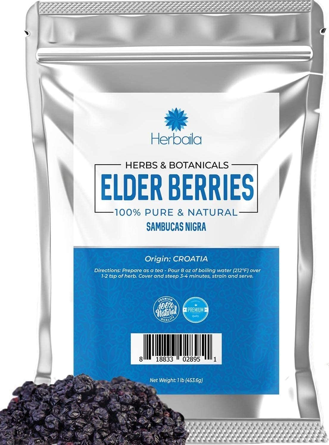 Elderberries, Whole Dried 16oz, 1 lb. Promotes Immune Health, Use Elder Berry Fruit for Syrup, Black Tea, Gummy Treats, Bulk Resealable Bag