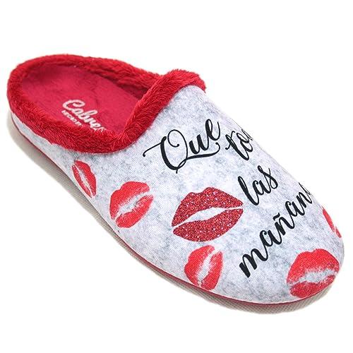 Cabrera 3112 - Zapatillas De Estar por Casa de Mujer con Mensaje Que Todas Las Mañanas Me Despierten A Besos: Amazon.es: Zapatos y complementos