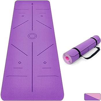 Oudort Non Slip Yoga Mat with Alignment Lines