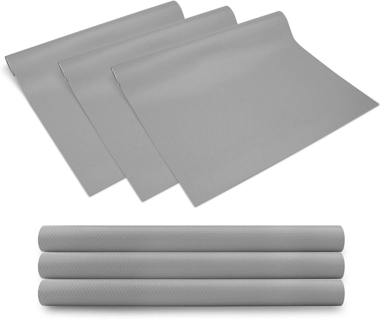 KONKY 3 Rollos EVA Protector Antideslizante Cocina, Estantes el gabinete Estera Cuttable, Impermeable Estera del refrigerador, Forro de cajón Reutilizable, 45 * 150cm, Gris