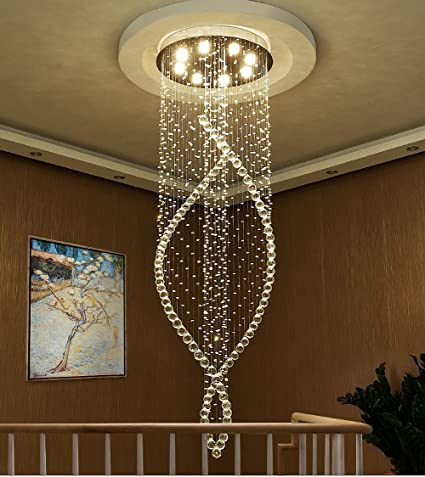 61942f1129 Siljoy Modern Spiral Crystal Chandelier Lighting Contemporary Ceiling Light  for Staircase Hallway D80 x H250 cm: Amazon.co.uk: Lighting