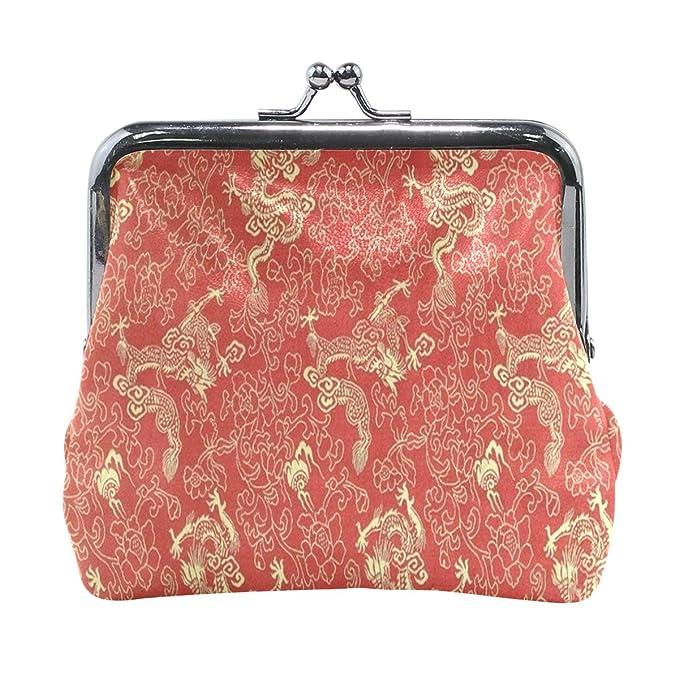 Amazon.com: Monedero chino rojo oro dragón mujer cartera ...