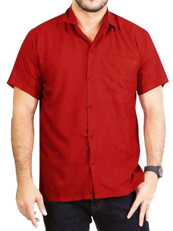 LA LEELA Mens Beach Short Sleeve Button Down Casual Hawaiian Shirt Solid Plain