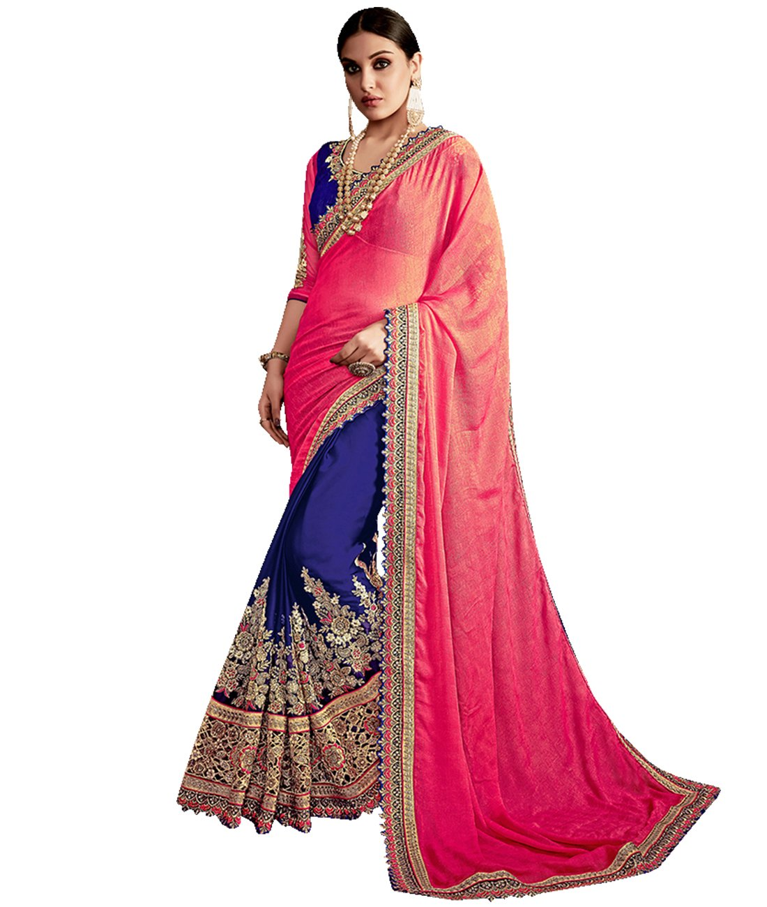 Indian Ethnic Art Silk & Faux Chiffon Pink And Blue Half And Half Saree