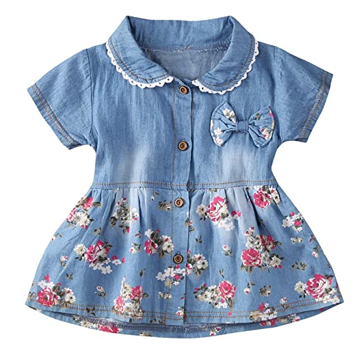 782ab47edd94 Amazon.com  Tanhangguan Baby Girl Dresses Floral Print Short Sleeve ...