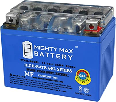Mighty Max YTX4L-BS GEL Battery for Scooter SYM DD 50CC 09 12V 1AMP CHARGER