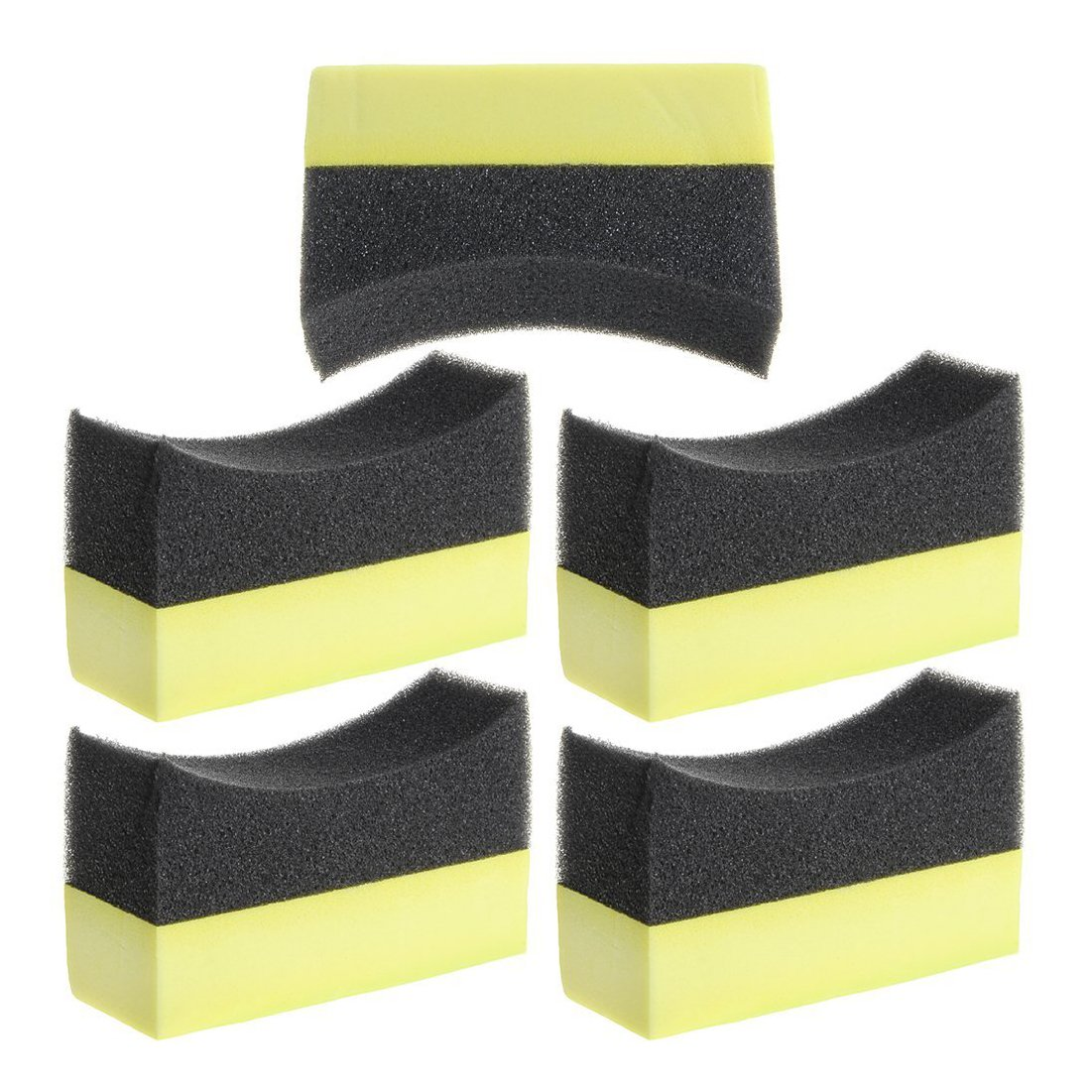 FGHGF 5x Professional Automotive Car Wheel Washer Tyre Tire Dressing Applicator Curved Foam Sponge Pad Black+yellow HITSAN INCORPORATION ATM-3518
