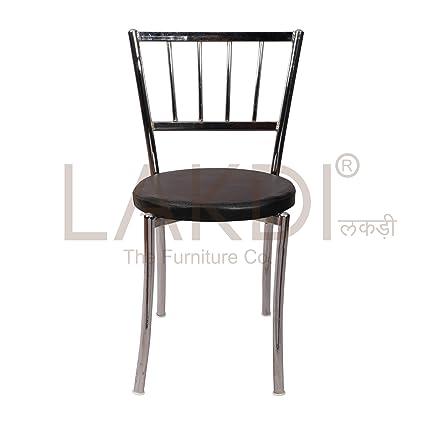 lakdi Pu leatheriteite Chrome Base Legs Cafe Chair Ideally for Café & Home MFN(132231_87)
