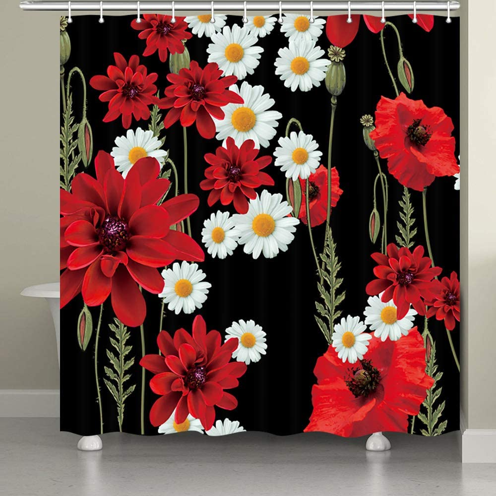 JAWO Poppy Garden Shower Curtain for The Bathroom, Spring Nature Red Poppy Diasy Flower and White Daisy Floral Pattern Against Black Background Shower Curtain Set, Black and Red Bathroom Decor, 69x70