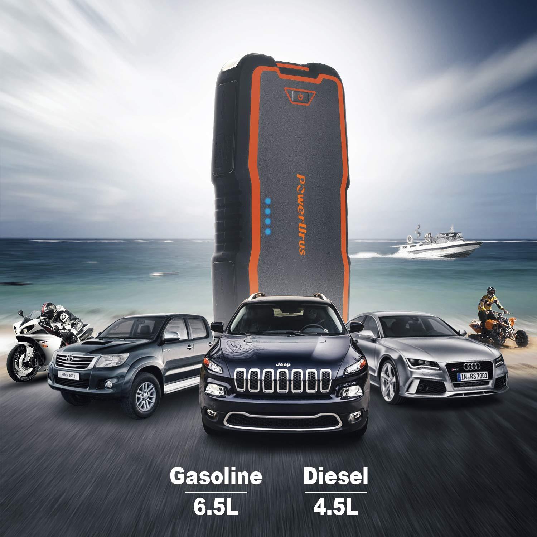 Ultraschafe IP66 Auto Motor bis 6,5 l Gas 4,5 l Diesel mit Starthilfekabel PowerUrus Kfz-Batterie-Starthilfe
