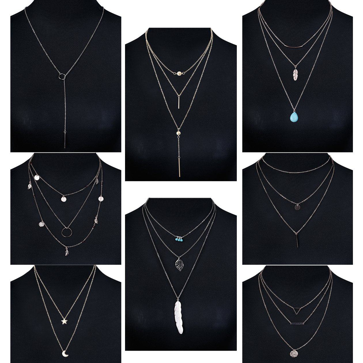 Jstyle 8 Pcs Simple Layered Choker Necklace For Women Girls Sexy Long Chain Y Necklace Bar Feather Pendent Necklace