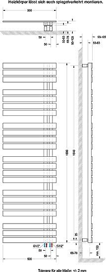 Mittelanschluss Design-Heizk/örper f/ür Zweirohrsysteme Schulte Bad-Heizk/örper M/ünchen 678 Watt alpin-wei/ß 121 x 50 cm