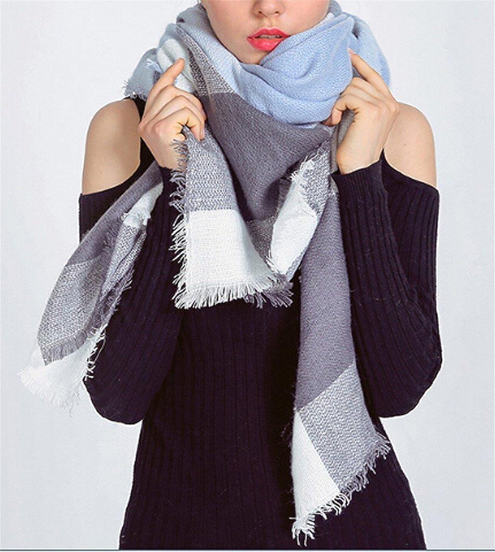 541e5d110e5e Hengsong Écharpe Chale Femme Cachemire Chaud Automne Hiver Grand Plaid  Tissu Glands Foulard 987025. Agrandir l image