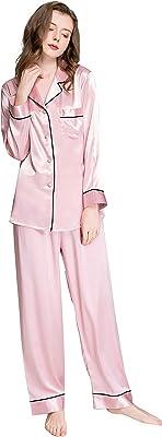 LONXU Womens Silk Satin Pajamas Set Button Down Sleepwear Loungewear XS~3XL