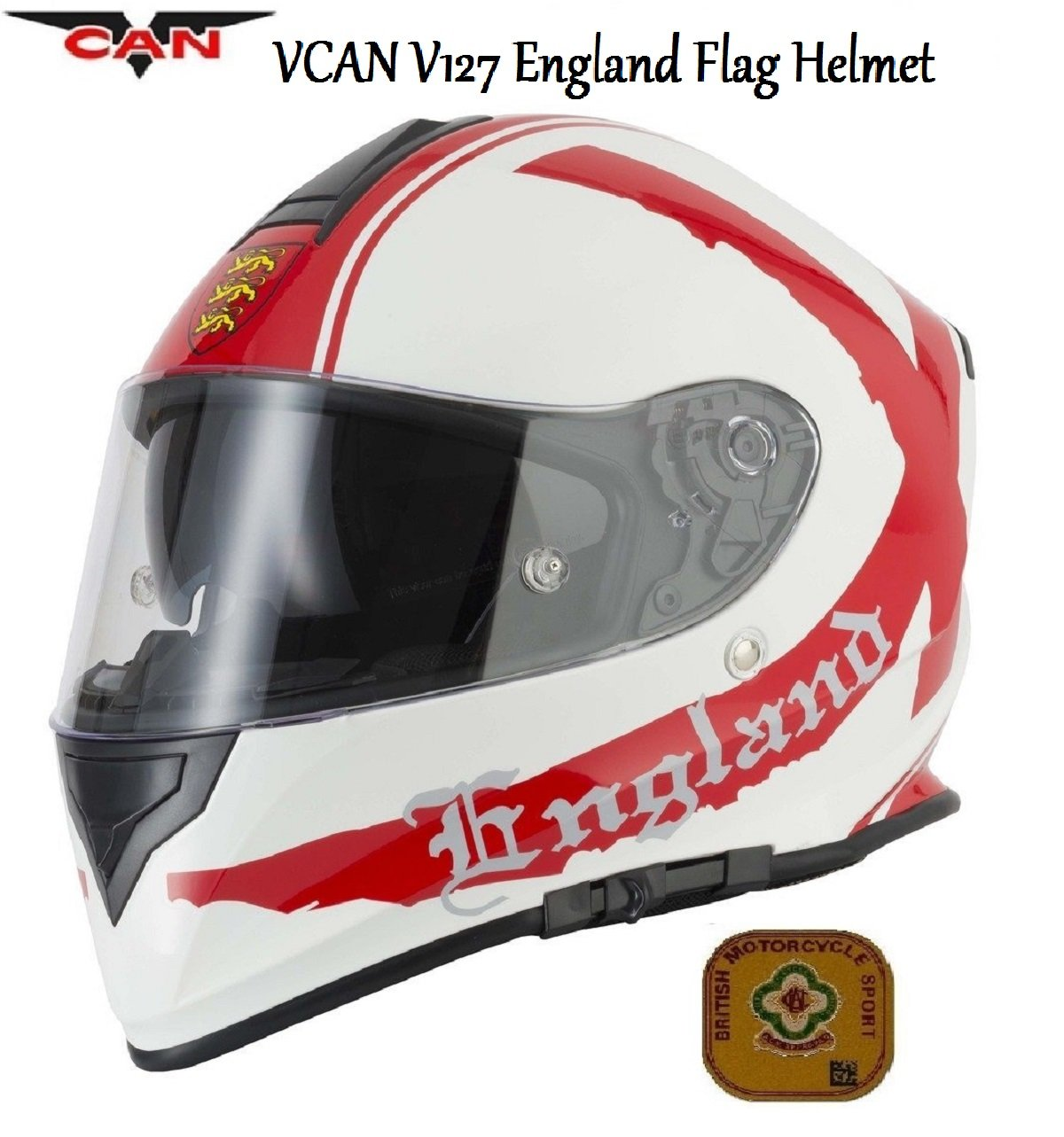 MOTORBIKE VCAN V127 ENGLAND FLAG HELMET Motorcycle Full Face Graphic ECE ACU Approved Sports Touring Helmet /& Grid Balaclava