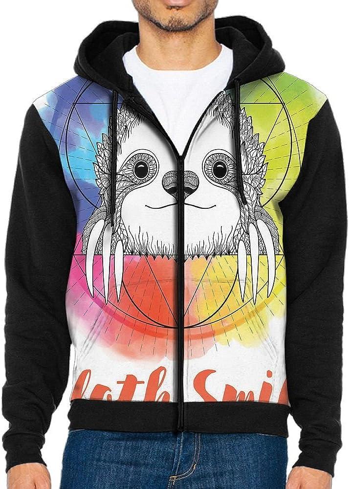 Joapron Rainbow Happy Smiling Sloth Mens Zipper Splicing Overcoat Belt Hat and Pocket