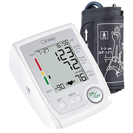 Amazon.com: CKeep Automatic Upper Arm Electronic Blood Pressure Monitor with Cuff,Large Display Screen and High Accuracy,Case and Batteries Included: Health ...