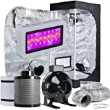 "TopoLite Grow Tent Room Complete Kit Hydroponic Growing System LED 300W/ 600W/ 800W/1200W Grow Light + 4""/ 6"" Carbon Filter C"