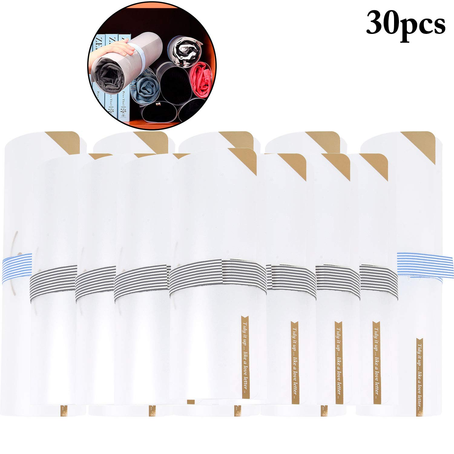 JUSTDOLIFE Clothes Folder, 30Pcs T Shirt Roller Folder Closet Foldable Storage Organizer Clothes Folding Board Save Space Suit for Any Home Adult and Kids Clothes by JUSTDOLIFE