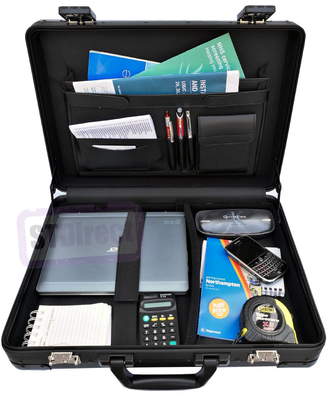 UltraArmor grand solide Mallette rembourr/ée en aluminium pour ordinateur portable Executive Attache Case Carbon Black Fits 13 to 17.5 Laptops