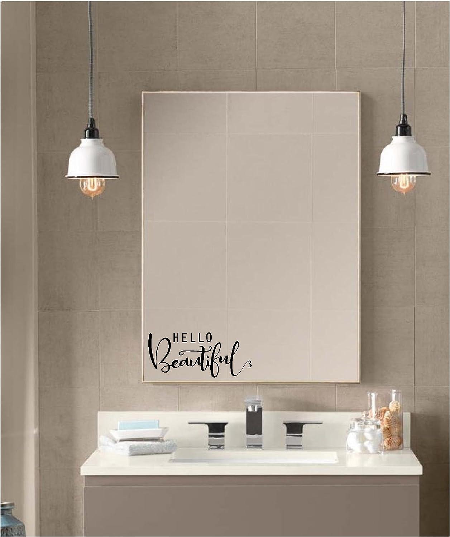 Hello Beautiful Quote Bedroom Vinyl Wall Art Sticker Decal Bathroom Mirror