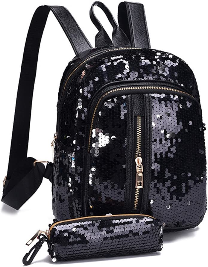 2PC Girl Backpack Squins Zipper Mini Bag School Casual Daily Travel Daypack Clutch Wallet Zulmaliu Sky Blue