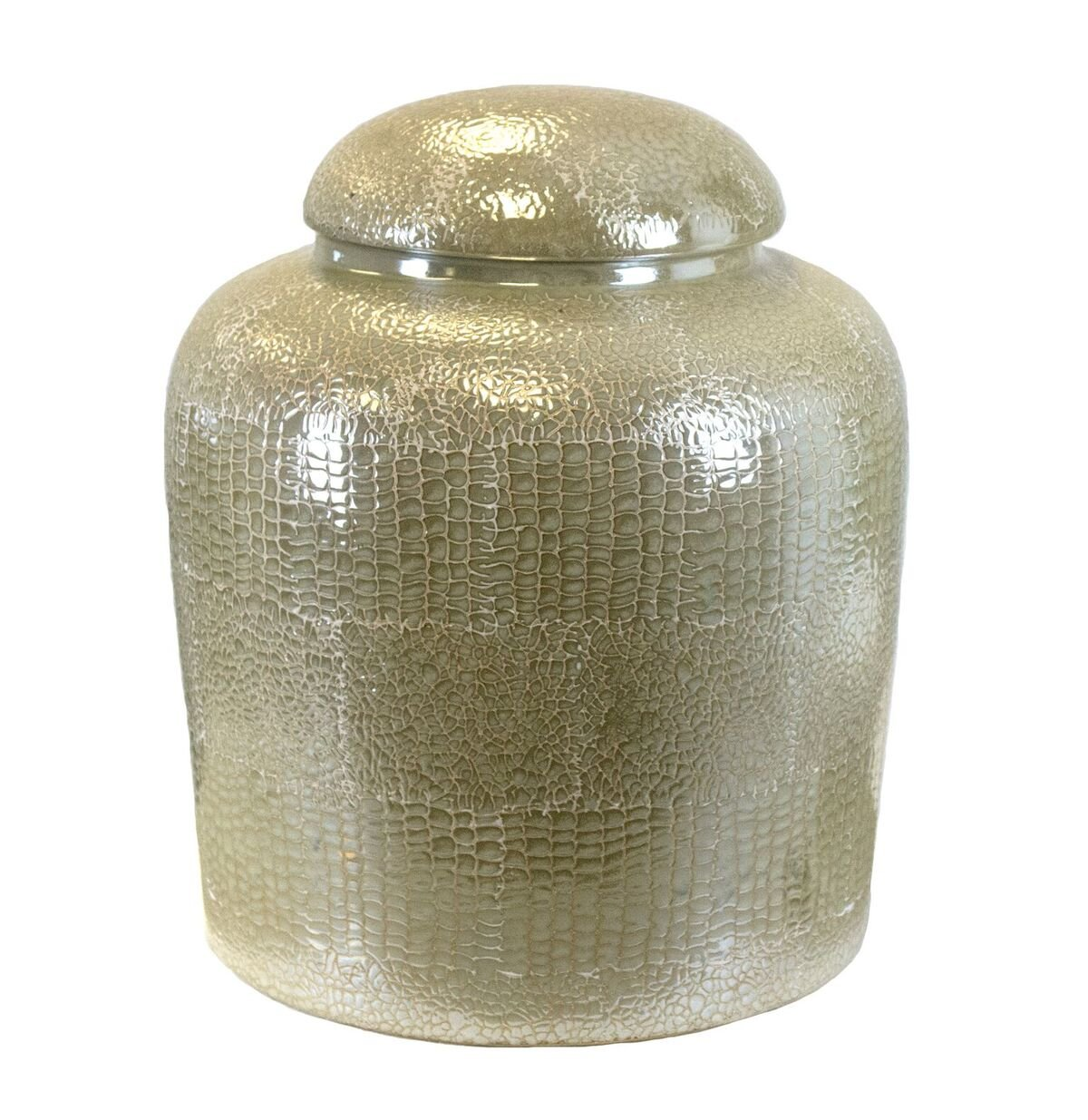 15 x 15 x 18 Inches Sagebrook Home 10484 Covered Jar Ceramic Pearl Snake Ceramic