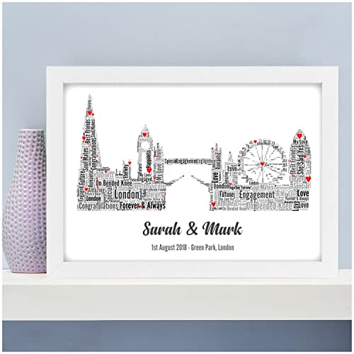 Personalised Engagement Gifts LONDON Skyline Engagement Print Gifts ...