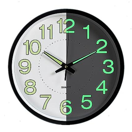 Reloj de pared luminoso, Foxtop Reloj de pared silencioso de la luz de la noche