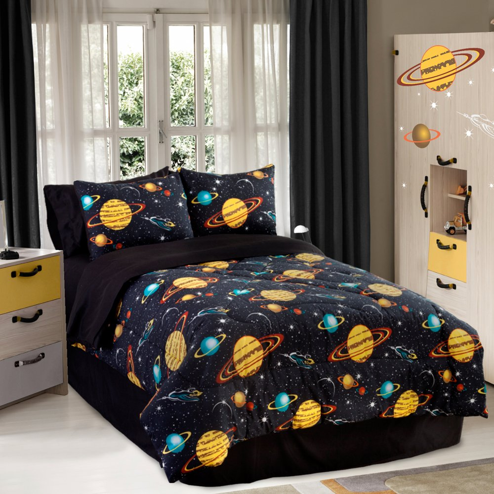Veratex Bedding Collection Rocket Star Glow in The Dark Comforter Set, Black Multi Color,