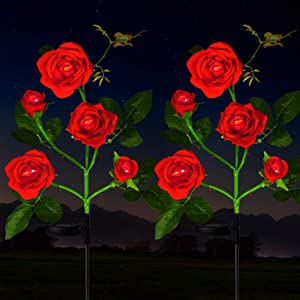 HeyMate Solar Lights Outdoor Decorative - 2 Pack Solar Garden Rose Flower Lights Waterproof with 10 Rose Flowers for Yard, Backyard, Patio, Pathway Decoration, Red