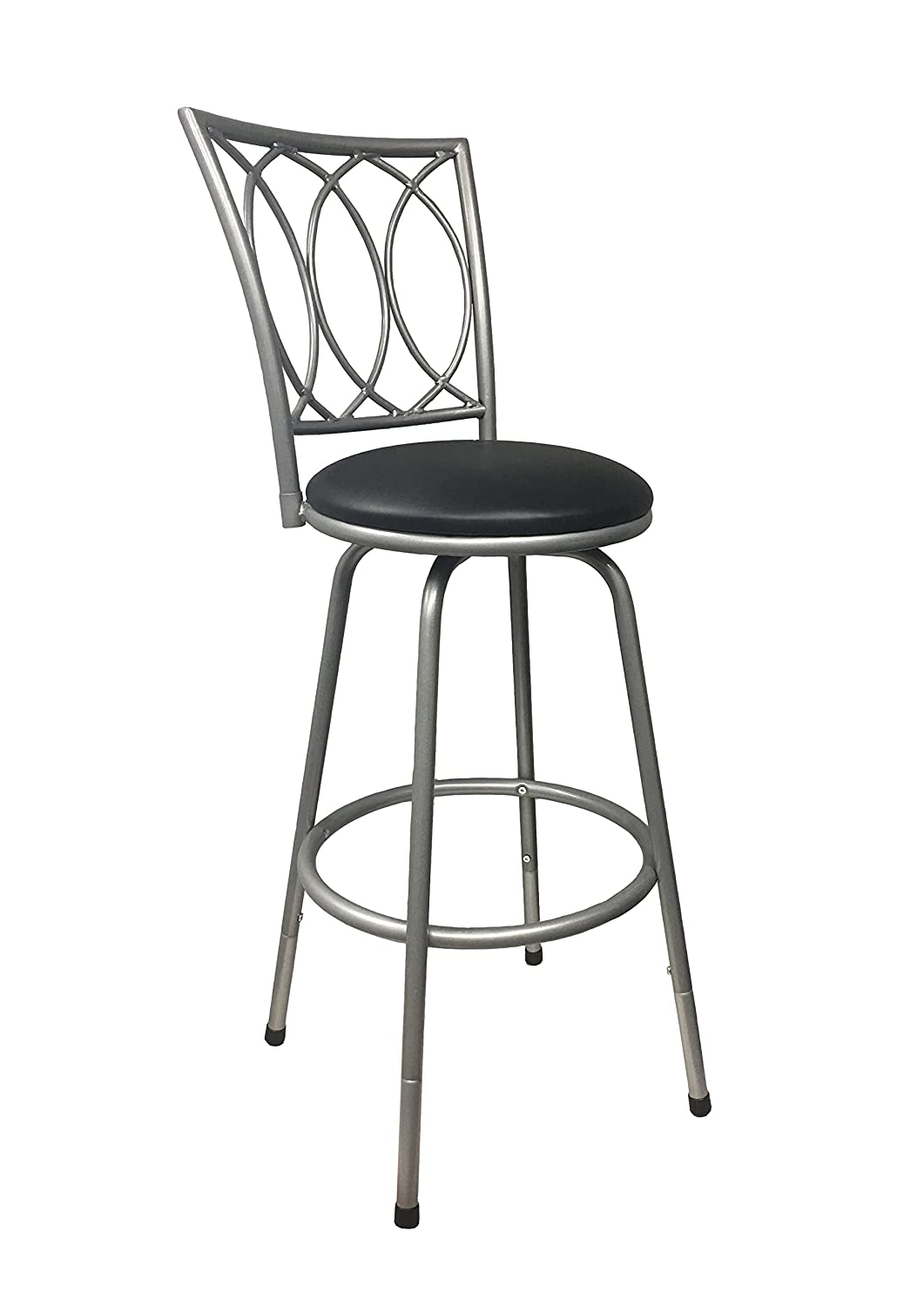 Redico Counter-to-Bar Height Adjustable 360 Degree Swivel Metal Bar Stool, Powder Coated Silver