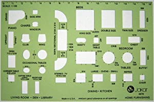 Metric 1:100 Scale Architect Design Drawing Template Stencil - Architectural Technical Drafting Supplies - Furniture Layout Symbols for House Interior Planning