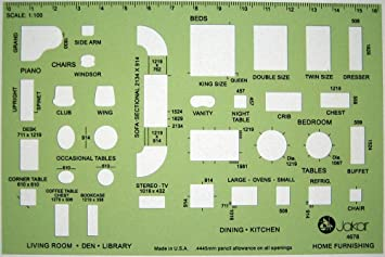Metric 1100 Scale Architect Design Drawing Template Stencil
