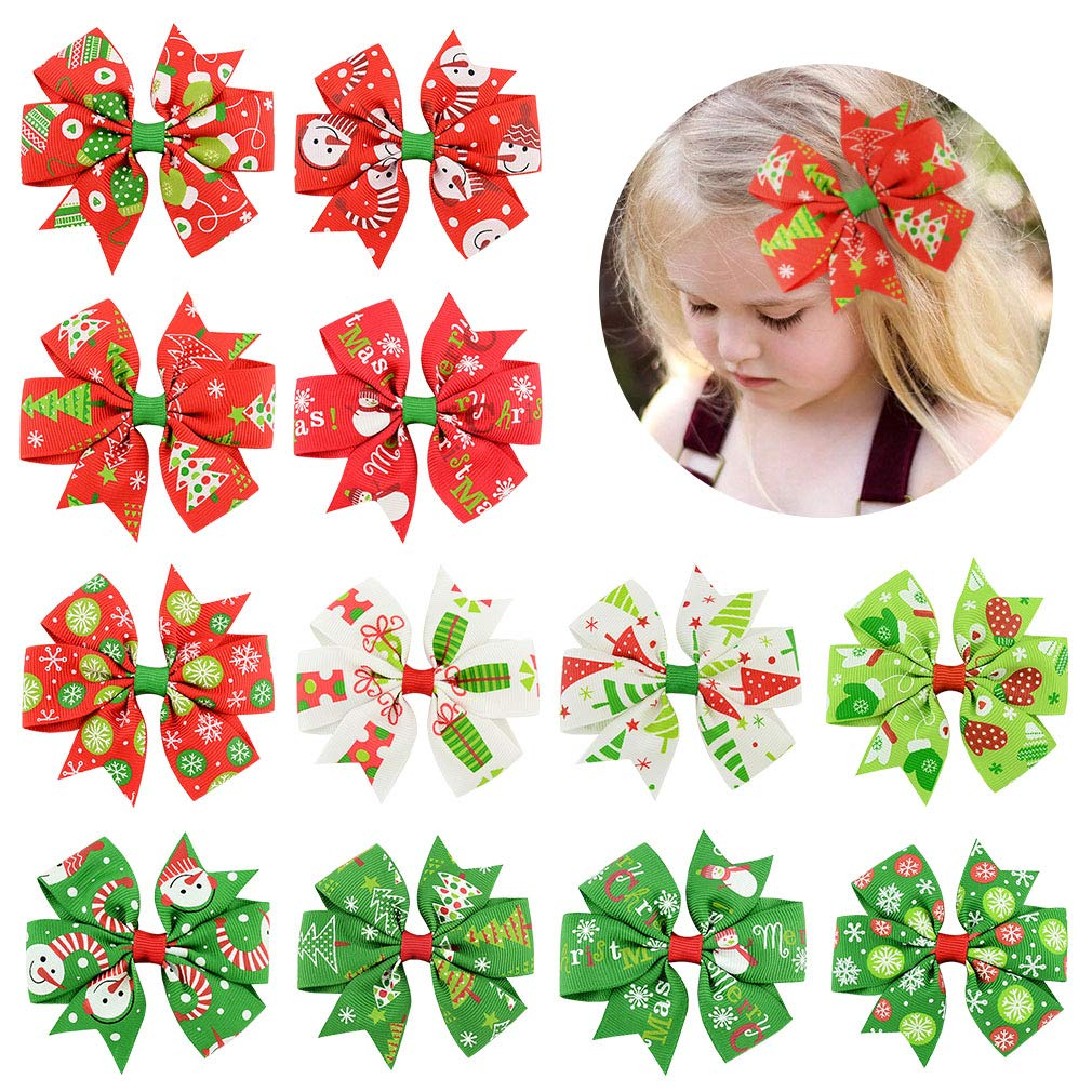 Christmas Hair Bows For Toddlers.12 Pcs Hair Bows Clips 3 Boutique Alligato Christmas Bow Grosgrain Ribbon Accessories For Girls Baby Toddlers Kids