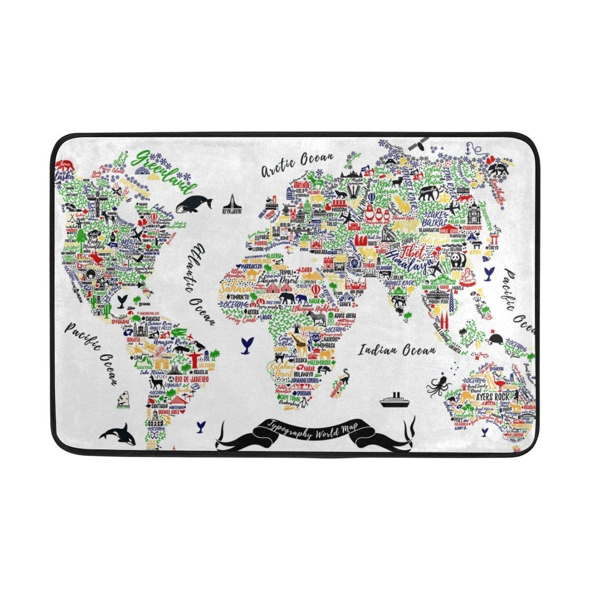 jstel mapa del mundo de viaje Póster Las Ciudades Y Turismo ATT lavable Felpudo para interiores/al aire libre jardín oficina Felpudo, cocina comedor pasillo ...