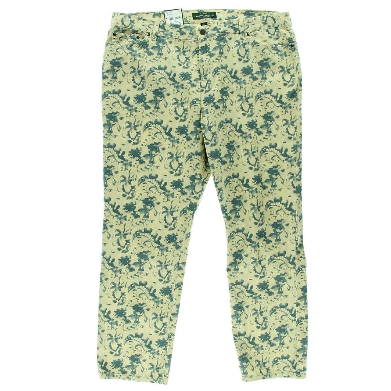 Ralph Lauren Womens Plus Printed High Waist Ankle Jeans Beige 22w