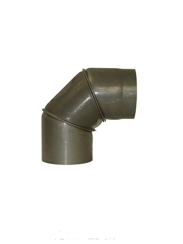 LANZZAS Rauchrohr Ofenrohr Kaminrohr Bogen Knie 0-90/° mit T/ür verstellbar /Ø 180 mm schwarz