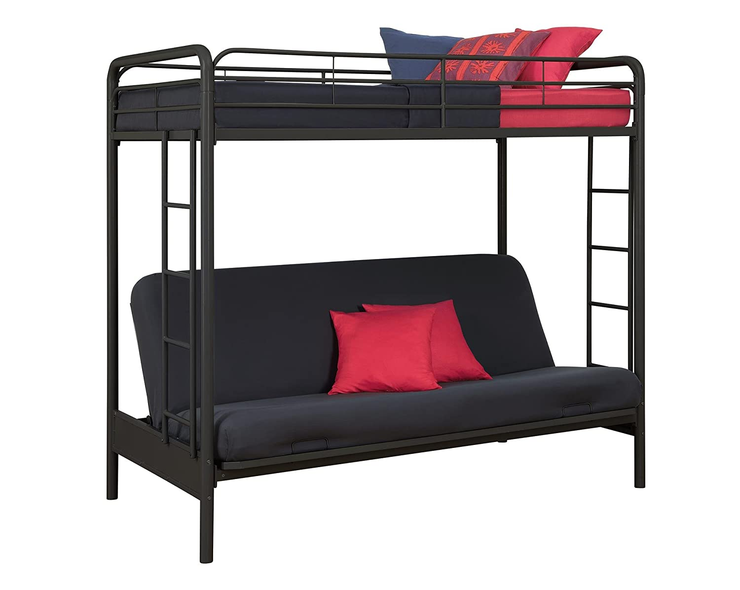 Convertible couch bunk bed - Amazon Com Dhp Twin Over Futon Convertible Couch And Bed With Metal Frame And Ladder Black Kitchen Dining