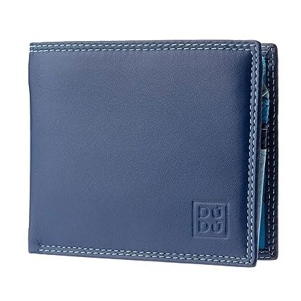 2bdf83a70 DUDU Cartera Pequeña Coloreada para Hombre de Piel Napa con Monedero  Tarjetero Billetera Azul