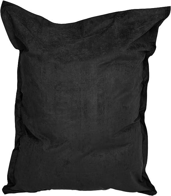 Imagen deLumaland Puf Microfibra Lujo XXL 380l Relleno 140 x 180 cm Asiento Gigante para el Suelo - Negro