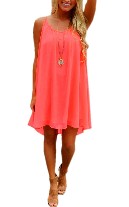 Zeagoo Damen Sexy Chiffon A-Line mini Kleid Sommerkleid Partykleid knielang